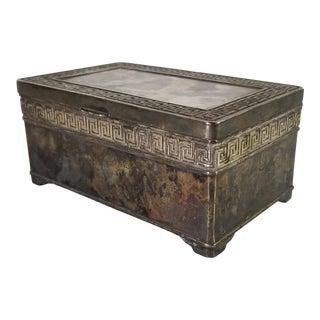 Vintage Italian Vera Lucino Greek Key Design Silver Plate Box For Sale