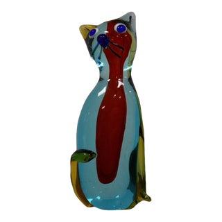 Italian Modern Murano Glass Cat For Sale