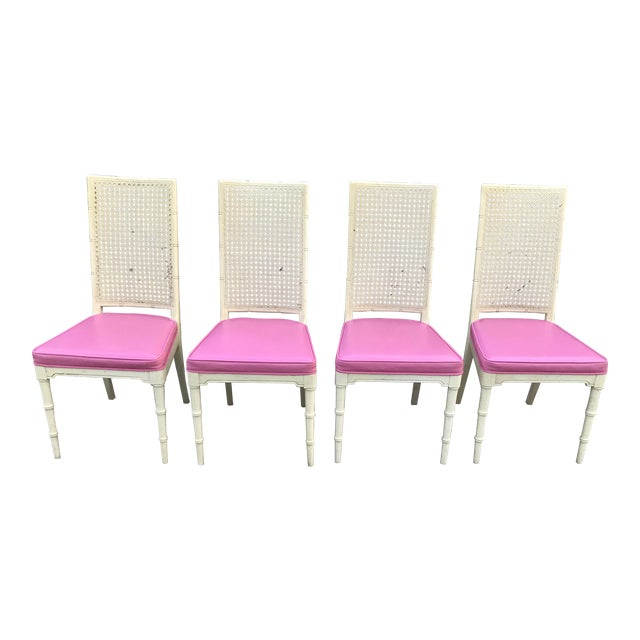 Hickory Faux Bamboo and Cane Pink Side/Dining Chairs - Set of 4 For Sale
