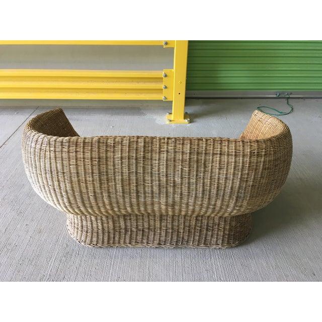 Boho Chic Vintage Wicker Barrel Back Settee For Sale - Image 3 of 12