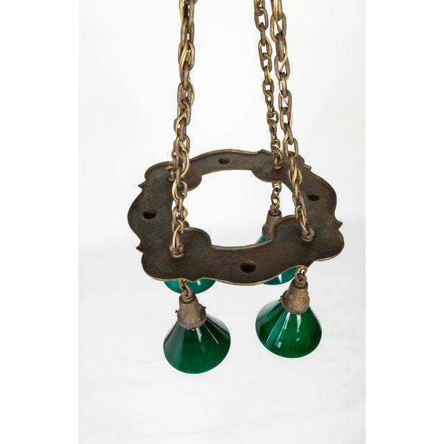 Chestnut Arts & Crafts Hammered Darkened Metal Chandelier With Green Glass Shades For Sale - Image 8 of 12