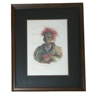 """Vintage McKenney & Hall """"No-Way-Ke-Sug-Ga"""" Native American Portrait Framed Print For Sale"""
