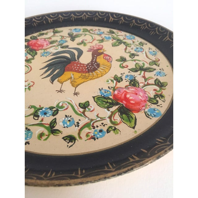 Various Artists Vintage 1940's Japanese Hand Painted Rooster Decorative Plates - A Pair For Sale - Image 4 of 11