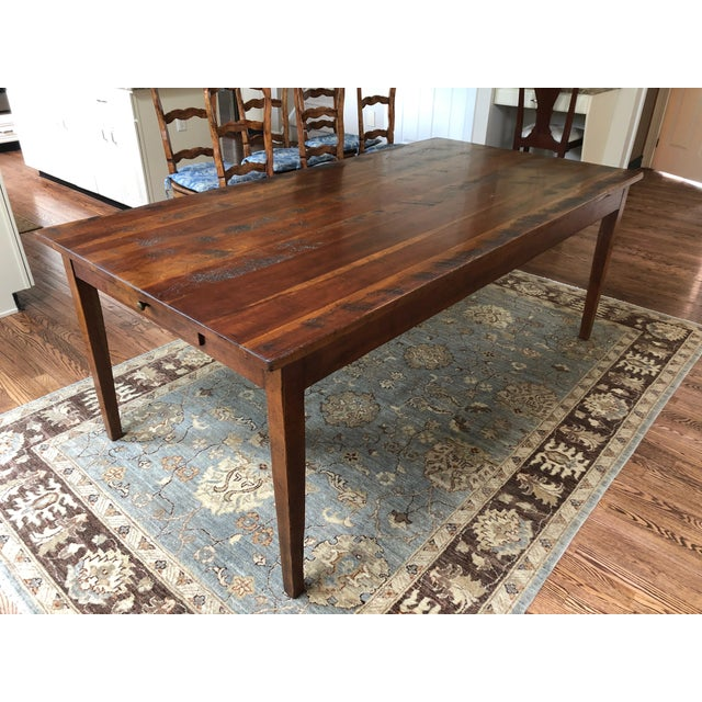 Wright Table Company Classic Distressed Hard Wood Farm Table For Sale - Image 13 of 13