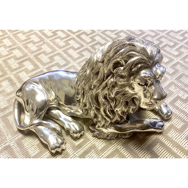 """Only for the Bold and the Beautiful....sterling silver over gesso lion sculpture by Alessandro Magrino. He is 24""""x13""""x10""""...."""