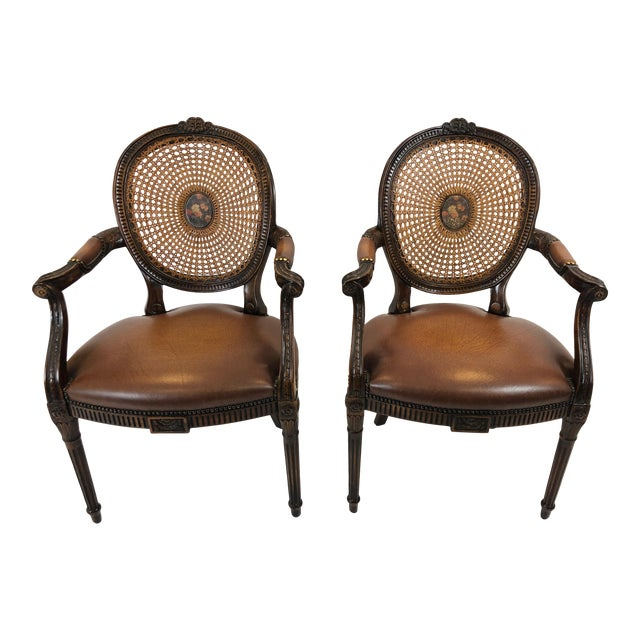 Caned and Cameo Back Armchairs - a Pair For Sale