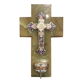 19th Century French Brass & Cloisonné Cross With Holy Water Font on Green Marble For Sale