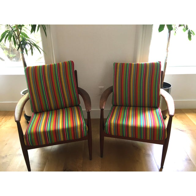 Teak 1960s Scandinavian Modern Grete Jalk Maharam Fabric Upholstered Chairs - a Pair For Sale - Image 7 of 7