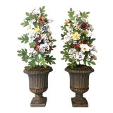 Image of Vintage French Tole & Porcelain Flower Topiaries in Urns - a Pair For Sale
