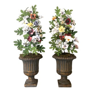 Vintage French Tole & Porcelain Flower Topiaries in Urns - a Pair For Sale