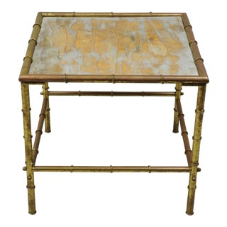 Italian Hollywood Regency Faux Bamboo Brass Tole Side Table For Sale