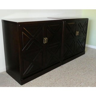 1960s Mid-Century Modern 2-Piece Mahogany Dry Bar Cabinet Set or Credenza Preview
