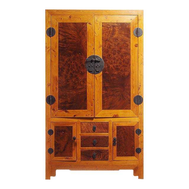 20th Century Chinese Two-Tone Burl Wood, Elmwood Armoire with Doors and Drawers For Sale
