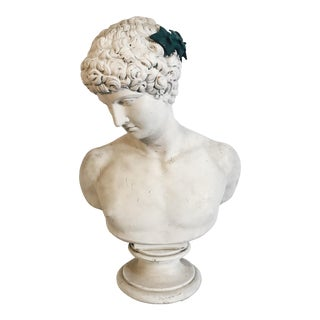 19th Century Plaster Bust of Apollo With Metal Laurel For Sale