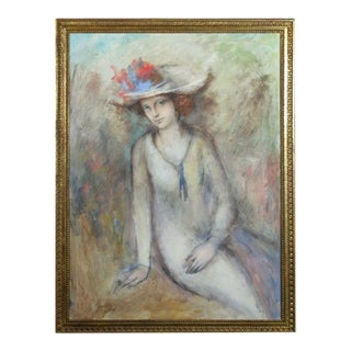 Seated Lady in Hat For Sale