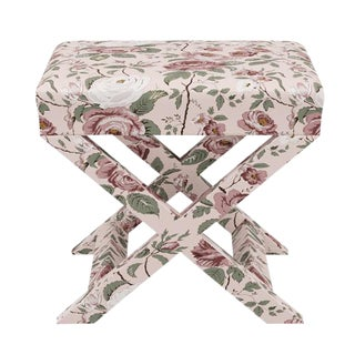 X Bench in Blush Chintz For Sale