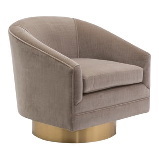 Milo Baughman designed Velvet Upholstered Swivel Chair 1970s For Sale