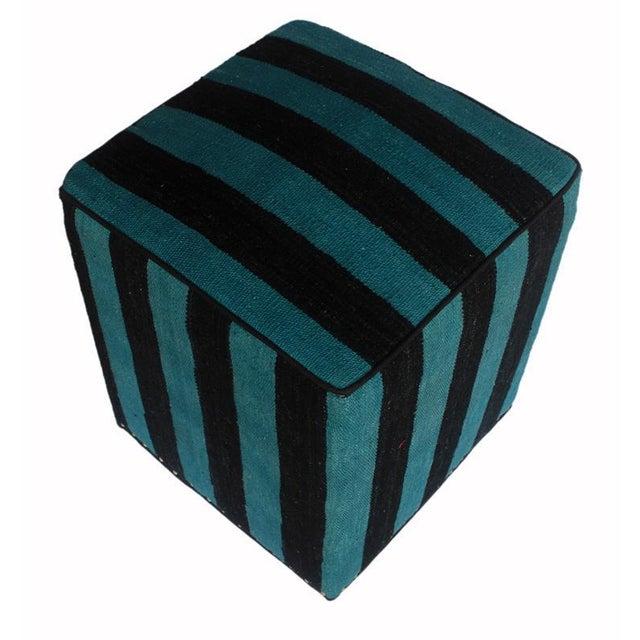 Asian Arshs Deedee Blue/Black Kilim Upholstered Handmade Ottoman For Sale - Image 3 of 8