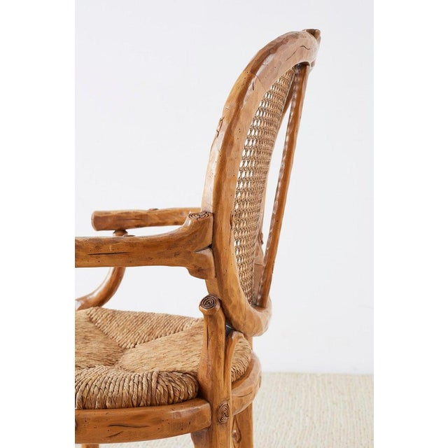 William Switzer Faux Bois Cane and Rush Seat Armchairs For Sale - Image 10 of 13