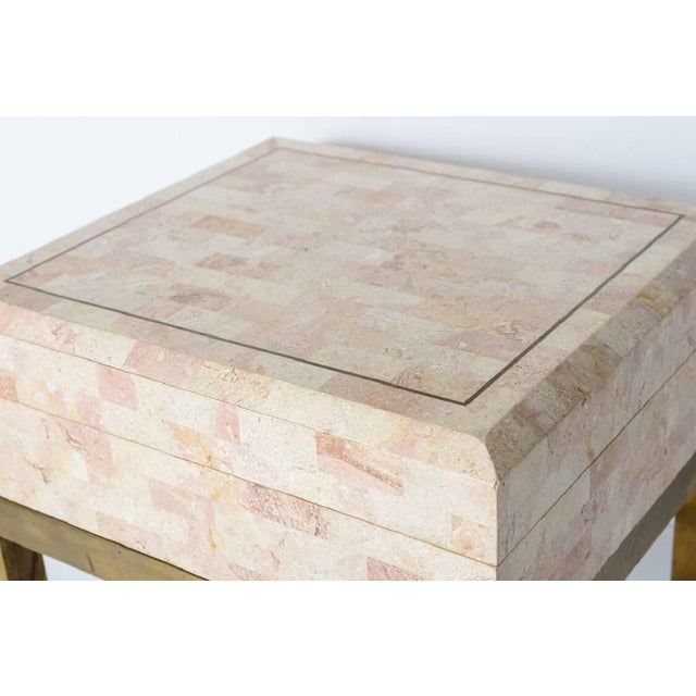 Maitland Smith Tessellated Marble and Brass Box on Stand For Sale In West Palm - Image 6 of 11