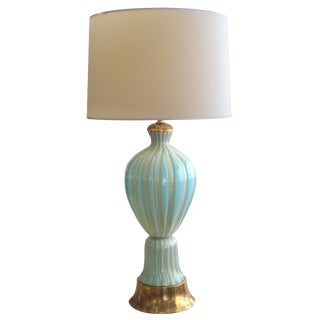 A large and good quality Murano 1950's Barovier & Toso seafoam green lamp For Sale