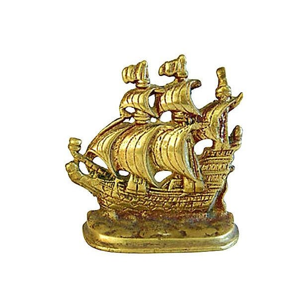 1960s Brass Galleon Ship Bookends - Pair - Image 2 of 3