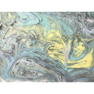"""Mellow Yellow"" Original Japanese Marble Suminagashi Print For Sale"