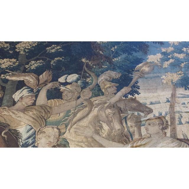 "Flemish Tapestry Origin: Belgium Circa: 1700s US Size: 7 ' 6 "" x 9 ' 4 "" Metric Size: 2.29 x 2.84 meters"
