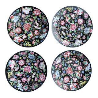 Chintz Jingdezhen Black Noire Floral Chinese Millefleur Dinner Plates - Set of 4 For Sale