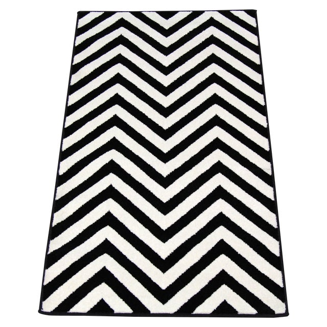 "Black and White Chevron Rug - 5'3"" x 7'4"" - Image 1 of 6"