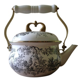 Tabletop Unlimited New England Toile Black Toile Gamebirds Tea Kettle For Sale