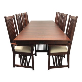 Le Meuble Villageois Mission Oak Dining Set - Table + 8 Chairs For Sale