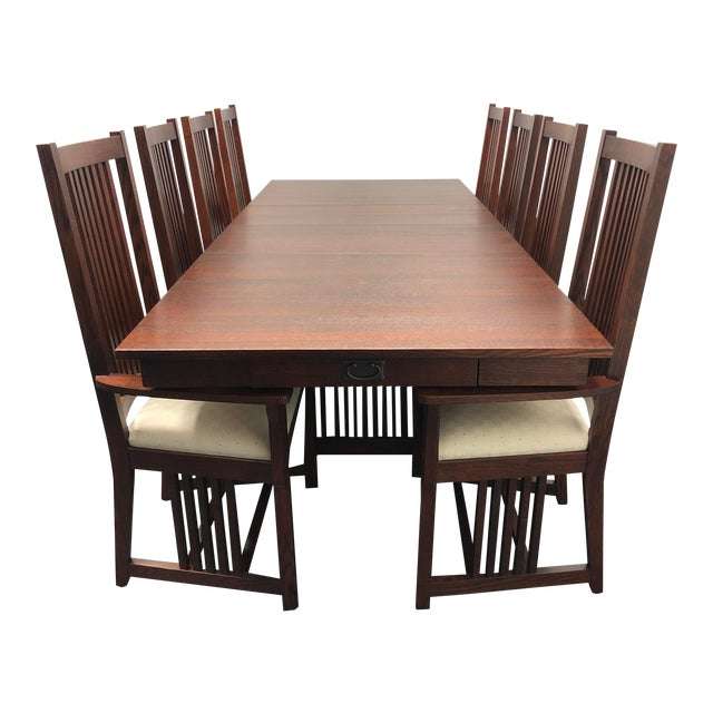 Le Meuble Villageois Mission Oak Dining Set Table 8 Chairs Chairish