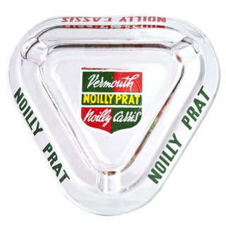 Vintage French Noilly Prat Glass Ashtray For Sale