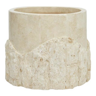 """1990s Postmodern 10"""" Round Tessellated Rough and Smooth White Stone Planter For Sale"""