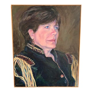 "Realistic Oil Painting ""Woman With Epaulettes"" by L. Lynch For Sale"