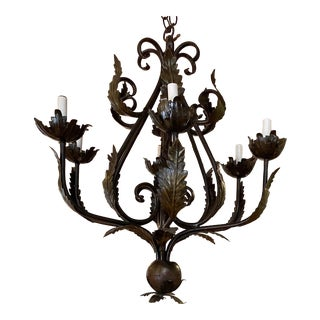 Antique 1950s French Iron Leaf and Flower Motif 6 Arm Chandelier For Sale