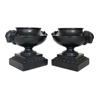 Black Composite Urns With Ram Handles - a Pair For Sale