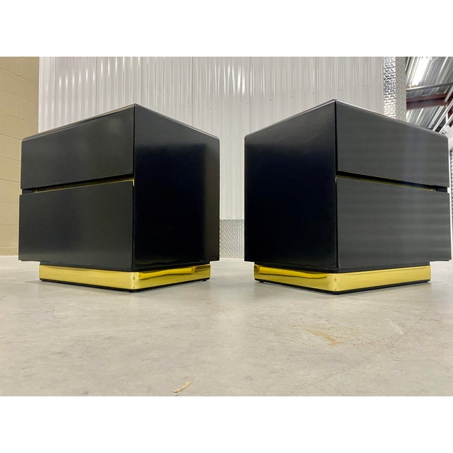 Mid-Century Modern Lane Black Lacquer & Brass Side Tables - a Pair For Sale - Image 3 of 8