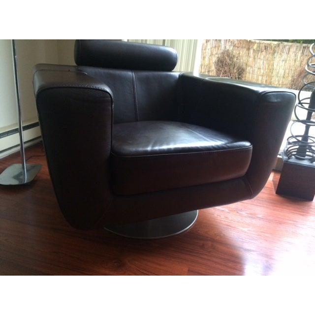 Chocolate Leather Swivel Chair - Image 3 of 7