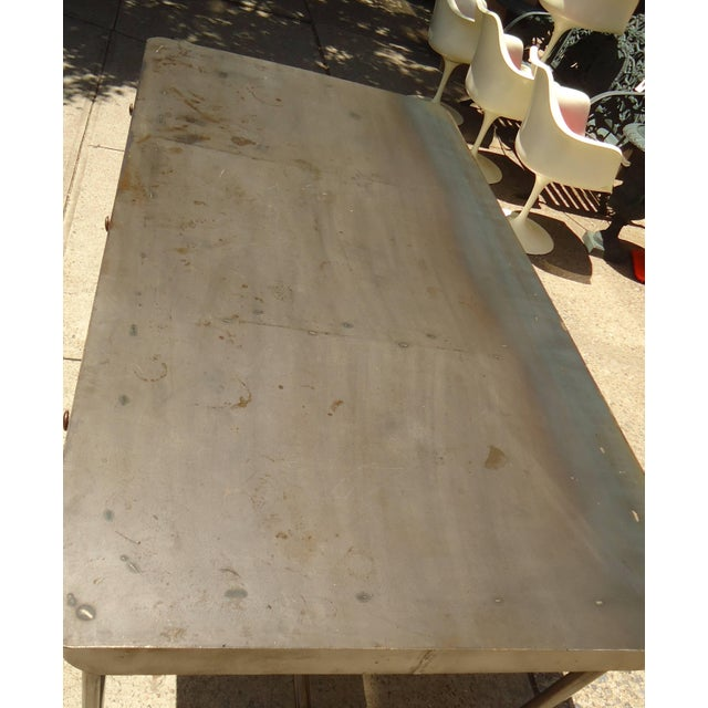 Large Industrial Metal Desk For Sale In New York - Image 6 of 11