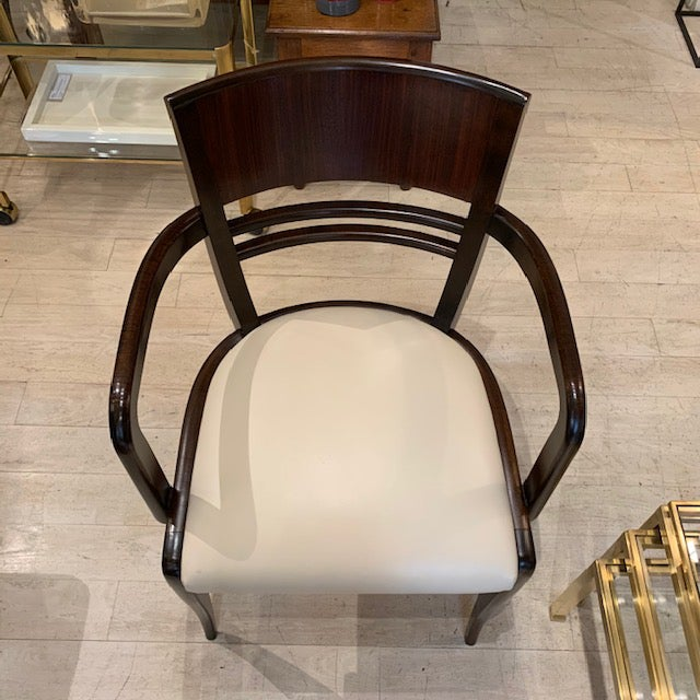 French Rosewood Curved Back Arm Chairs - a Pair For Sale In New York - Image 6 of 7