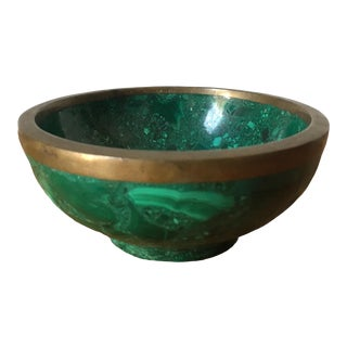 Malachite Brass-Rimmed Catchall For Sale