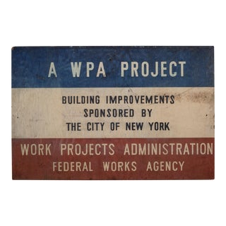 Hand Painted Wooden w.p.a Sign for City of New York C.1930 For Sale