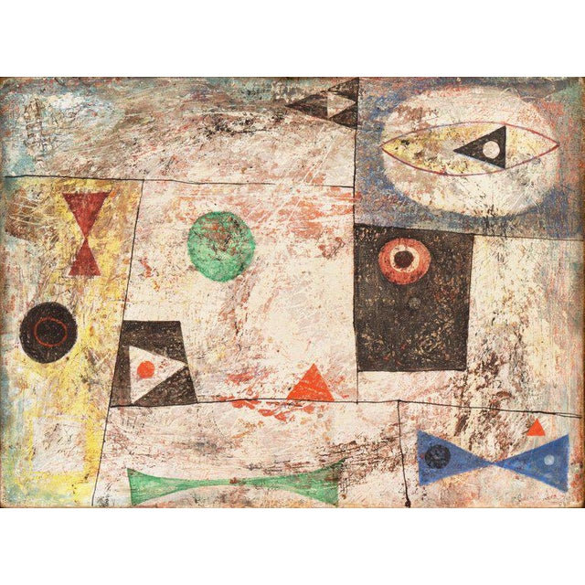 An elegant and complex, mid-century casein on board abstract comprising biomorphic elements in red, blue, green contained...