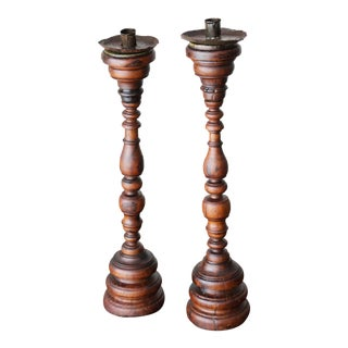 17th/18th Century Portuguese Carved and Turned Wood Candlesticks - a Pair For Sale