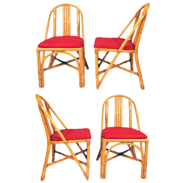 Restored Slat Leg Rattan Dining Chair, Set of Four - Image 1 of 4