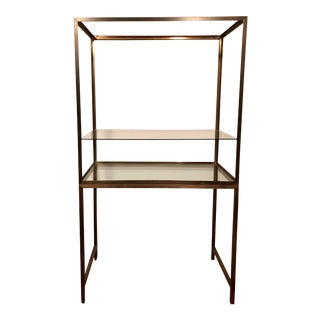 Contemporary Tarnished Brass Floor Vitrine/Étagère For Sale