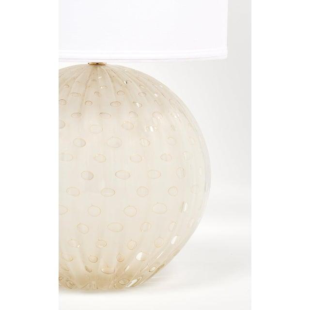 "Glass Gold Flecked ""Pulegoso"" Murano Glass Globe Lamp For Sale - Image 7 of 9"