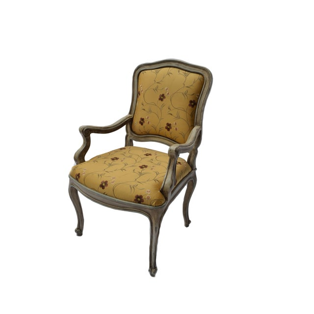 Hand Painted Arm Chair with Silk Upholstery - Image 1 of 4